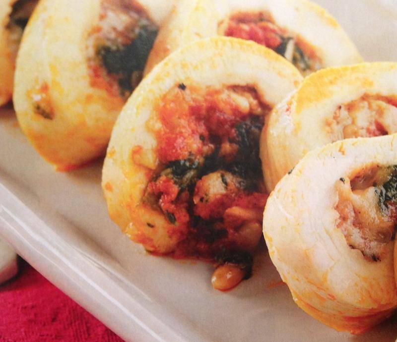 Pechugas de pollo rellenas de sobrasada,queso de Mahón y espinacas