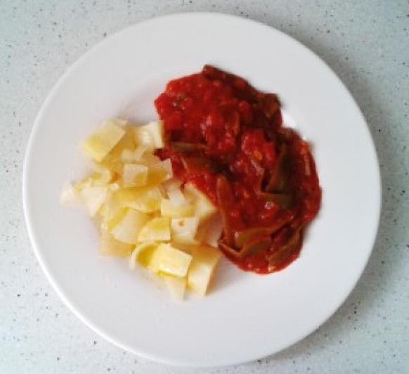 Judías verdes con tomate y patatas al vapor