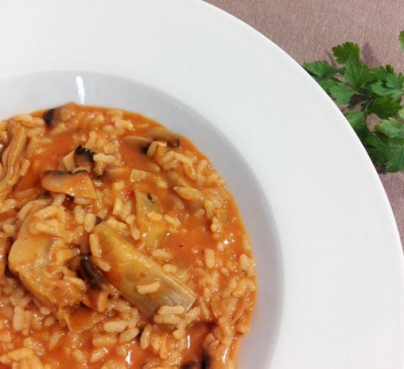 Cómo preparar arroz con alcachofas y boletus en Thermomix®