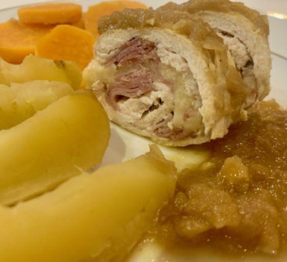 Jugosas y saludables pechugas con manzanas, batatas y salsa de curry