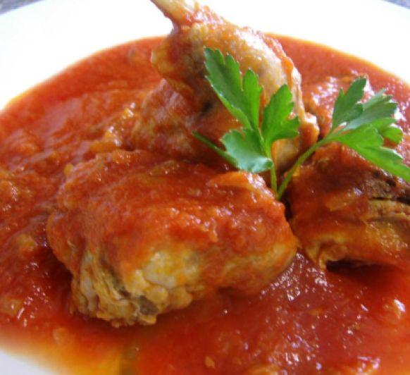 Conejo con tomate y pimientos con Thermomix®